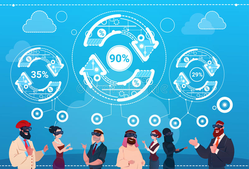 De bedrijfsmensen groeperen van de de Glazenpijl van de Slijtage Digitaal Werkelijkheid van de Updatefinanciën het Succesconcept stock illustratie