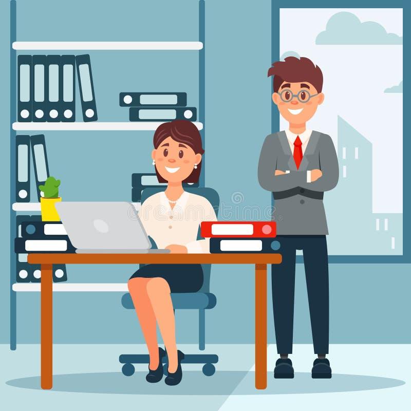De bedrijfsmensen groeperen zich, arbeiders in bureau binnenlandse vectorillustratie in beeldverhaalstijl vector illustratie