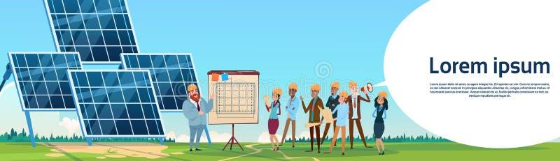 De bedrijfsmensen groeperen Zonne-energiecomité Vernieuwbare Postpresentatie vector illustratie