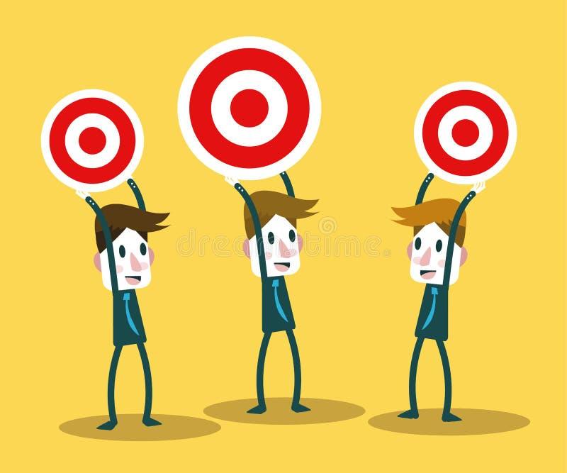 De bedrijfsmensen met doeldeferentie rangschikken royalty-vrije illustratie