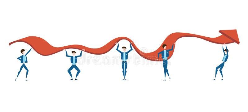 De bedrijfsmensen proberen om de grafiek van de groei van inkomen van het bedrijf op te heffen Het concept groepswerk Vector royalty-vrije illustratie