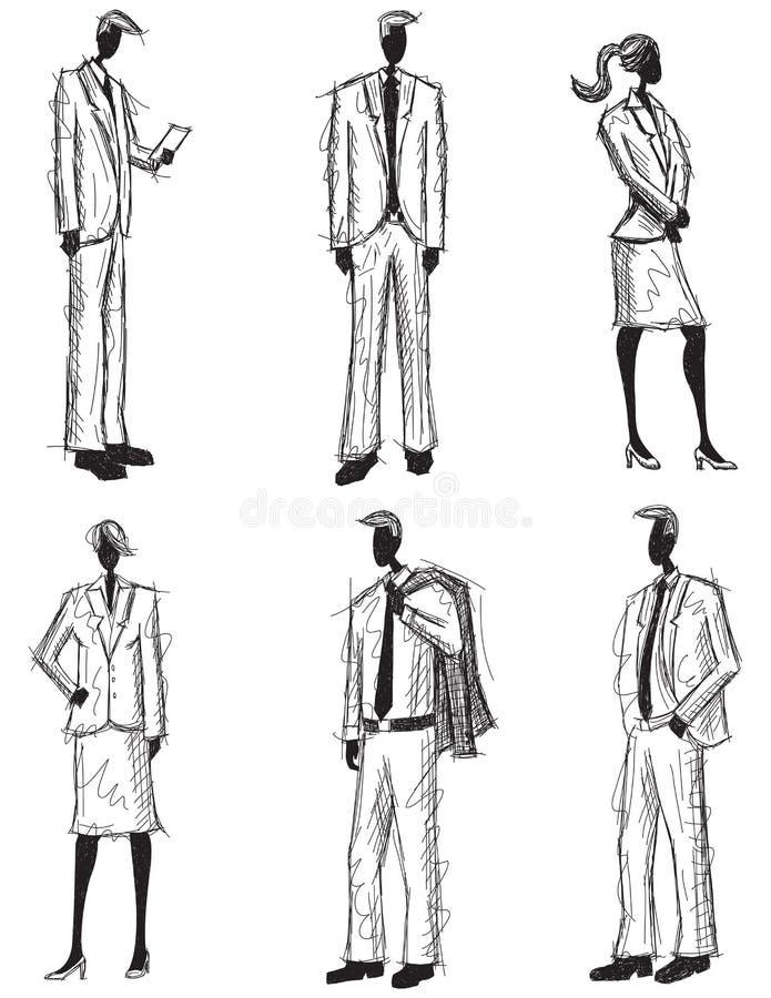 De bedrijfsmensen schetsen vector illustratie
