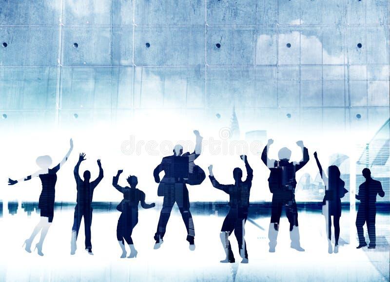 De bedrijfsmensen silhouetteren Springende Joy Success Celebration Happi stock foto's