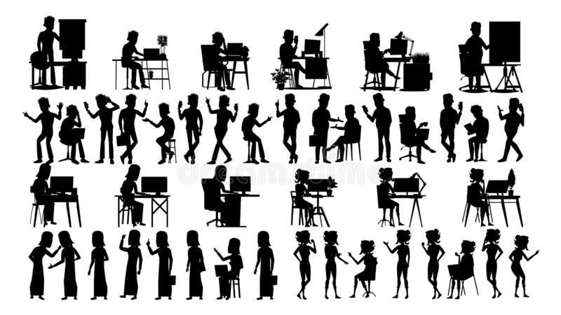 De bedrijfsmensen silhouetteren Vastgestelde Vector Mannetje, wijfje Guy Young Cijferinzameling Bureaukoffer Bevindend meisje zwa royalty-vrije illustratie