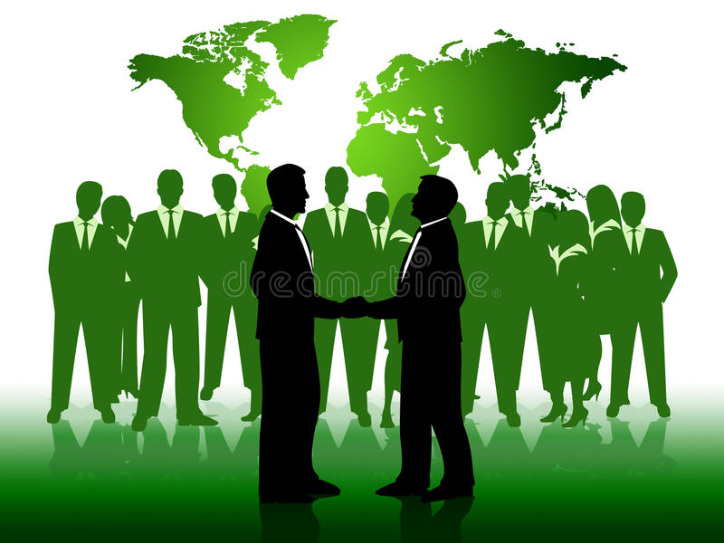 De bedrijfsmensen tonen het Samenwerken en Zakenlieden royalty-vrije illustratie