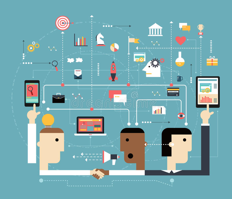 De bedrijfsmensen verbinden de online ruimte vector illustratie