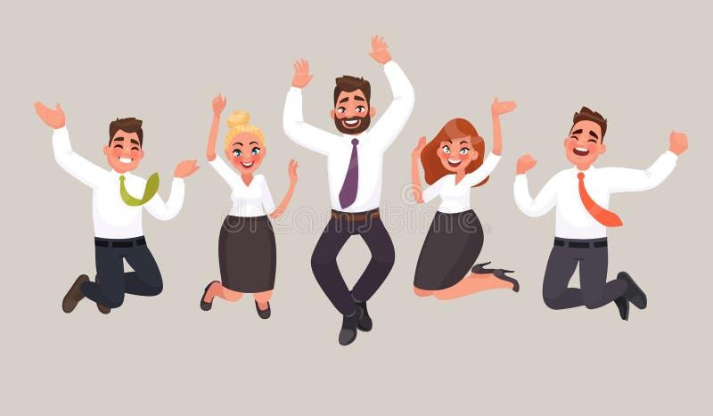De bedrijfsmensen zijn het springen, vierend de voltooiing van vict royalty-vrije illustratie