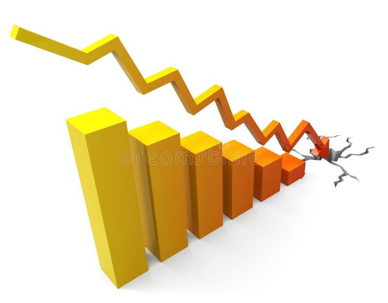 De bedrijfsneerstorting vertegenwoordigt Voortgangsrapport en Handel royalty-vrije illustratie