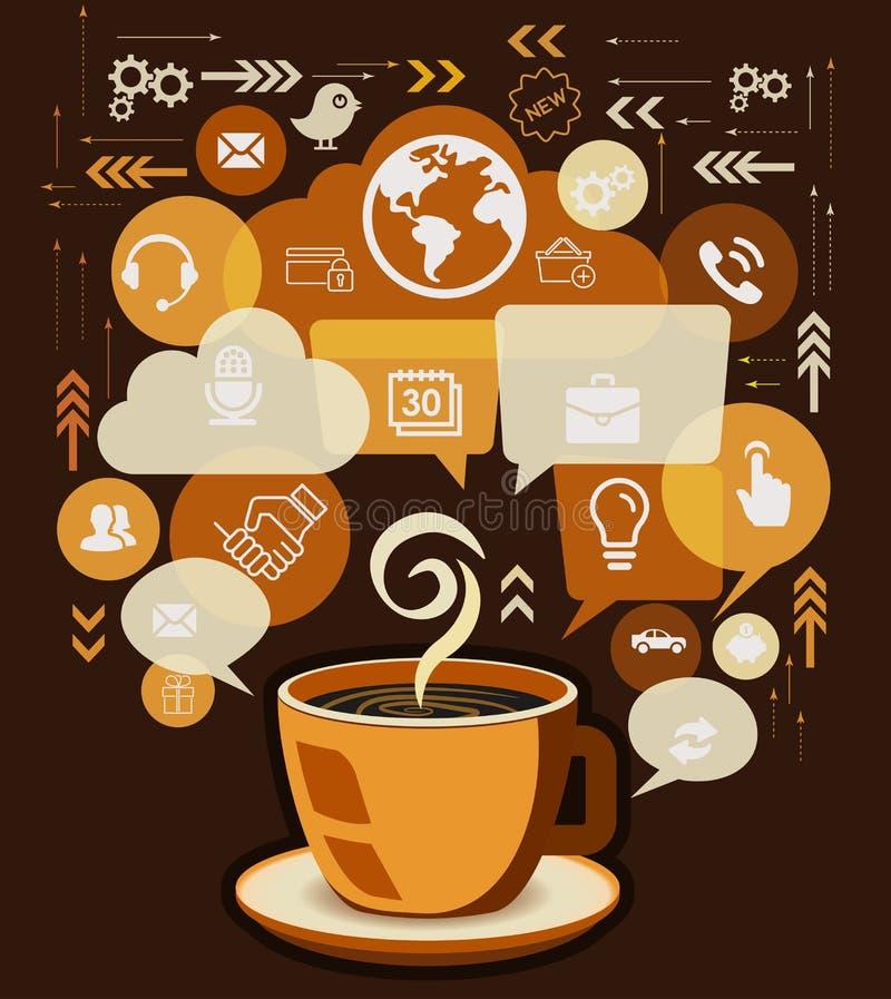 De Bedrijfspictogrammen van de koffiekop en met de Vector van de Bellentoespraak stock illustratie