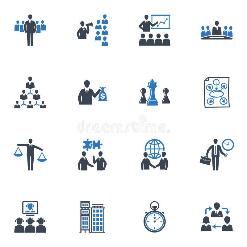 De BedrijfsPictogrammen van het beheer en - Blauwe Reeks royalty-vrije illustratie