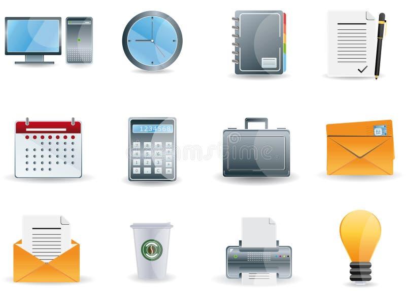 De Bedrijfspictogrammen van het bureau & stock illustratie