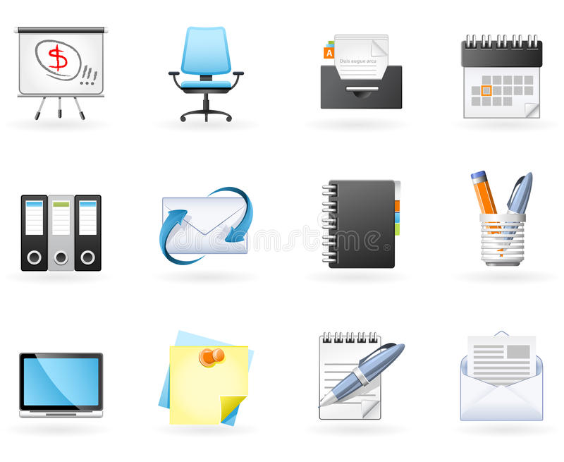 De Bedrijfspictogrammen van het bureau en stock illustratie