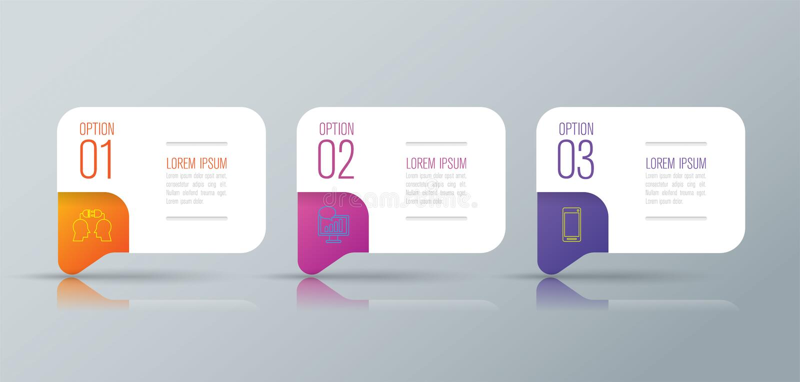 De bedrijfspictogrammen van het Infographicontwerp en met 3 opties royalty-vrije illustratie