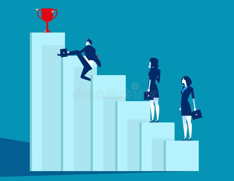 De bedrijfsteam overwonnen hindernissen en bereiken succes Concepten bedrijfs vectorillustratie, Strategie, Vlak bedrijfsbeeldver royalty-vrije illustratie