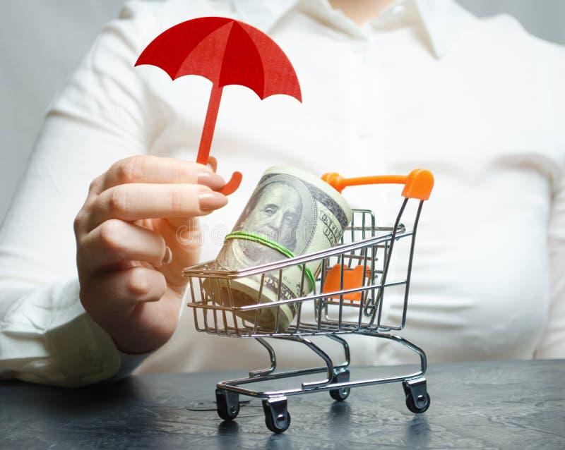 De bedrijfsvrouw biedt bescherming voor een supermarktkarretje met geld Waarborg van bescherming van buitenlandse investering royalty-vrije stock foto