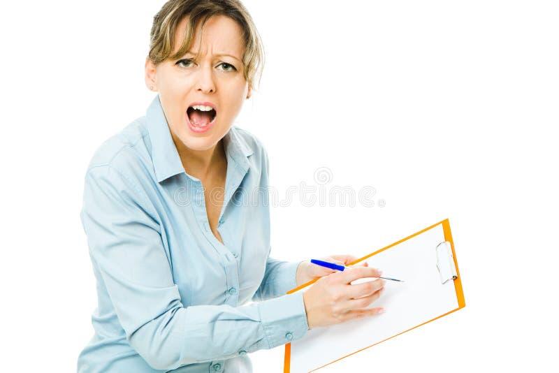 De bedrijfsvrouw die nota's controleren en gedraagt zich emotioneel - werkgever stock afbeeldingen