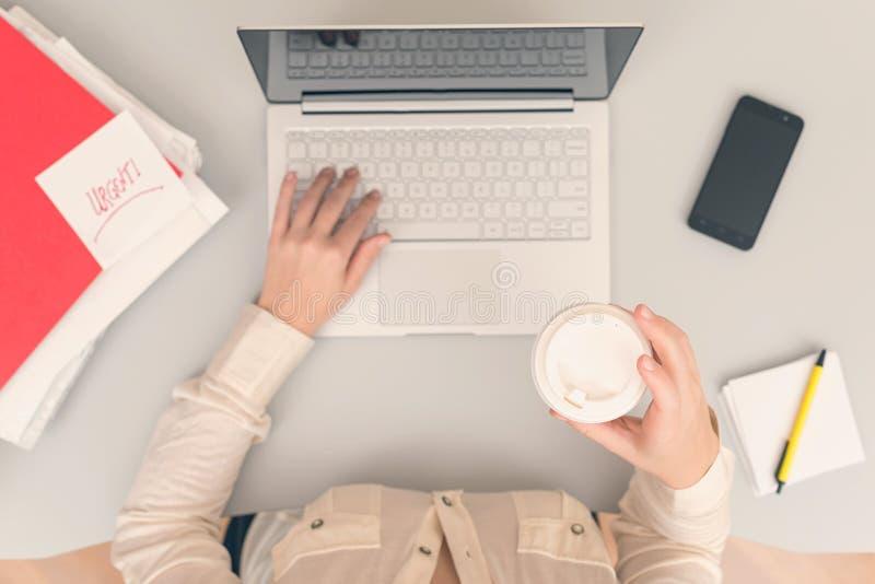 De bedrijfsvrouw drinkt koffie van document koppen terwijl het werken aan laptop in een bureau royalty-vrije stock afbeelding