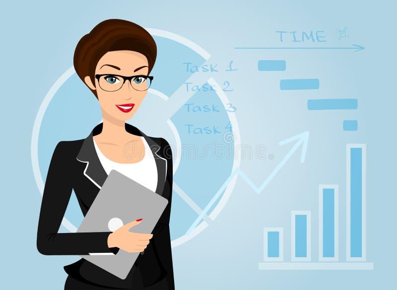 De bedrijfsvrouw houdt laptop in haar hand vector illustratie