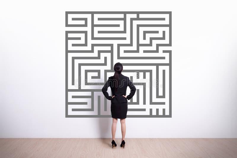 De bedrijfsvrouw kijkt labyrint stock afbeelding