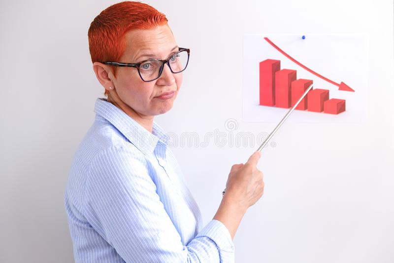 De bedrijfsvrouw leidt bedrijfs opleiding Bedrijfsmensen die op presentatie op kantoor hebben Zakenman die op de Raad voorstellen stock afbeeldingen