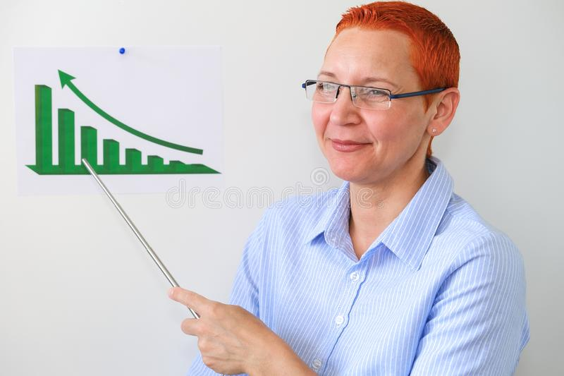 De bedrijfsvrouw leidt bedrijfs opleiding Bedrijfsmensen die op presentatie op kantoor hebben Zakenman die op de Raad voorstellen royalty-vrije stock afbeelding