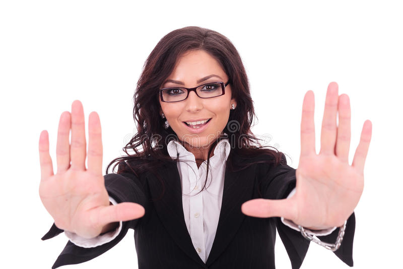 De bedrijfsvrouw maakt handkader stock afbeeldingen
