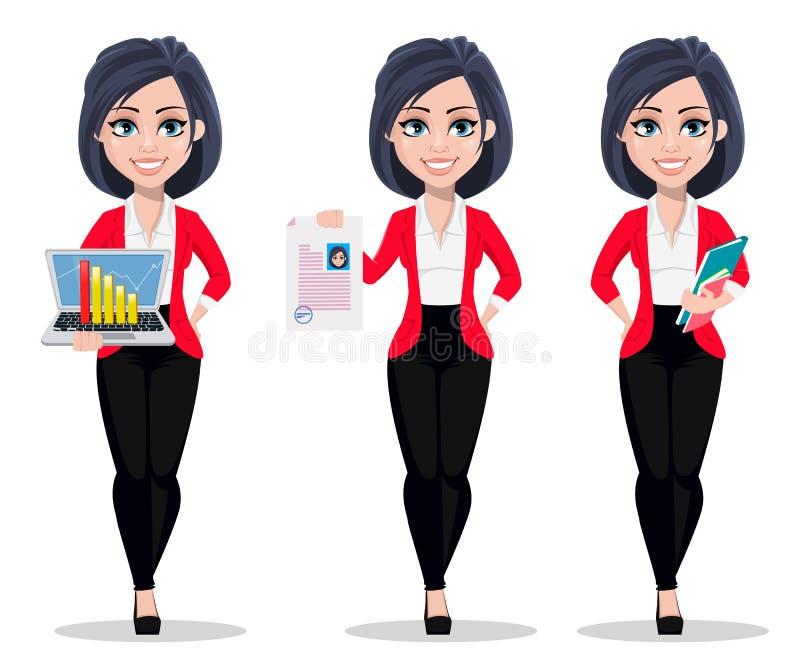 De bedrijfsvrouw, manager, bankier, reeks van drie stelt royalty-vrije illustratie