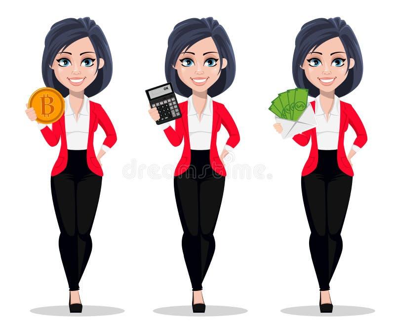 De bedrijfsvrouw, manager, bankier, reeks van drie stelt vector illustratie