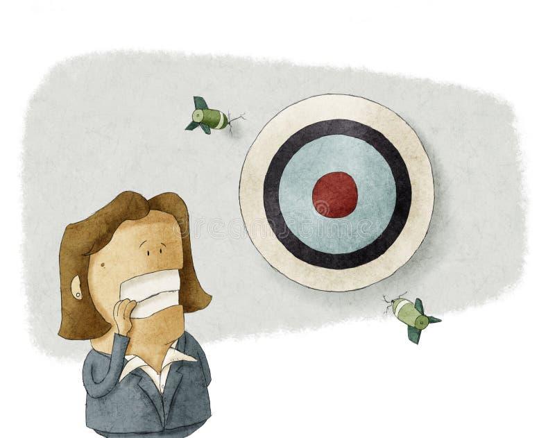 De bedrijfsvrouw mist het doel stock illustratie