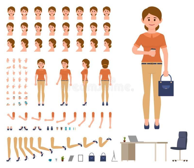 De bedrijfsvrouw in toevallig bureau kijkt de reeks van de karakterverwezenlijking De uitrusting van de de manageraannemer van de royalty-vrije illustratie
