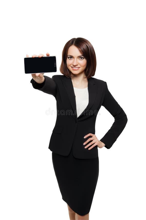 De bedrijfsvrouw toont de mobiele vertoning van de celtelefoon royalty-vrije stock foto