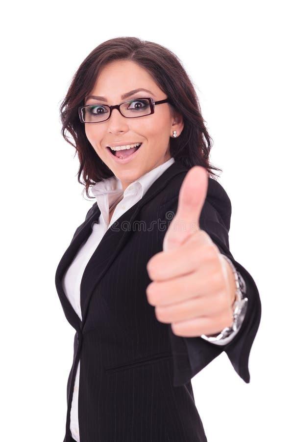 De bedrijfsvrouw toont duim stock afbeelding