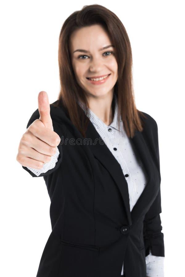 De bedrijfsvrouw toont duim stock foto