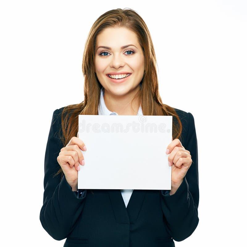 De bedrijfsvrouw toont raad, banner met exemplaarruimte het glimlachen woma stock afbeelding