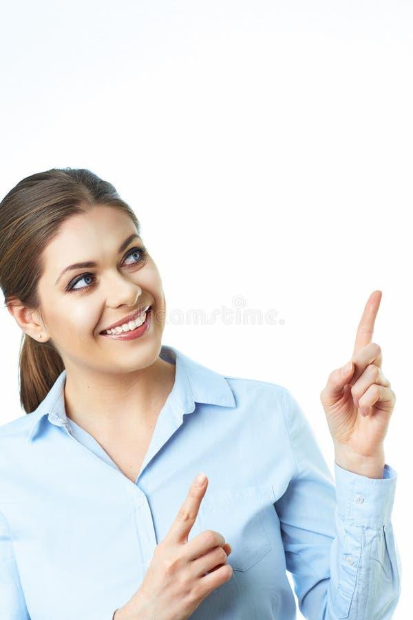 De bedrijfsvrouwenvinger toont presenting Geïsoleerde witte backgrou royalty-vrije stock foto's