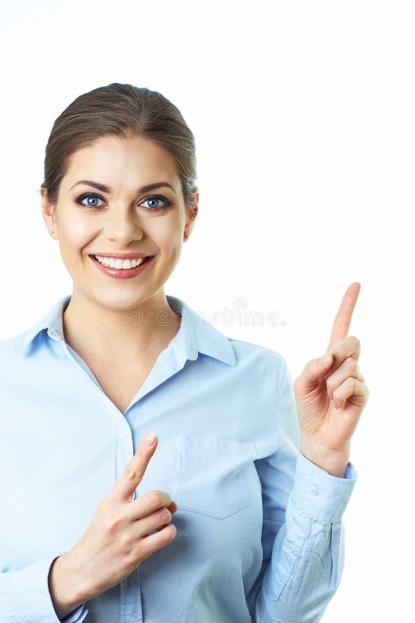 De bedrijfsvrouwenvinger toont presenting Geïsoleerde witte backgrou stock fotografie