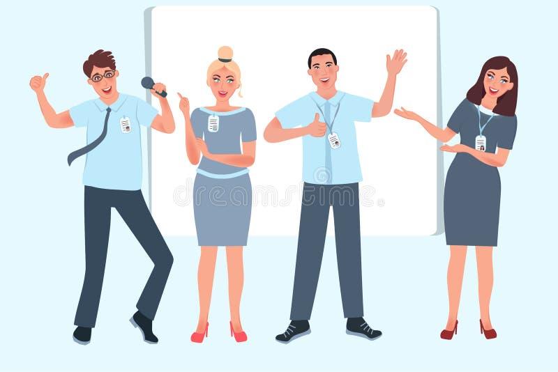 De bedrijfszakenlieden spreken op de conferentie Bedrijfs opleiding, seminarie Opleiding, hoede, onderwijs bannermalplaatje Vecto stock illustratie