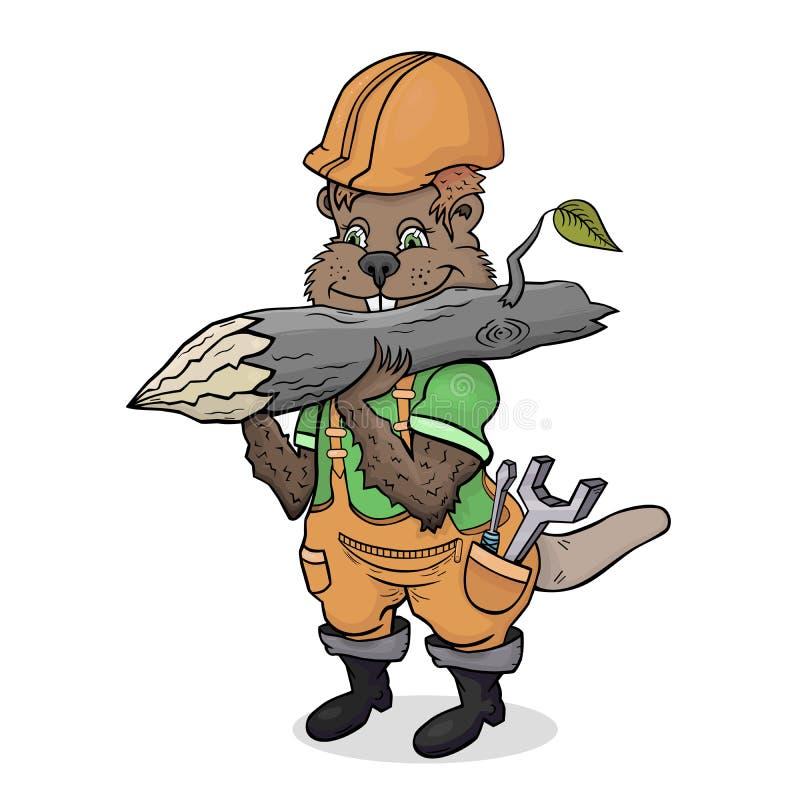 De bedrijvige beverbouwer door beroep vector illustratie