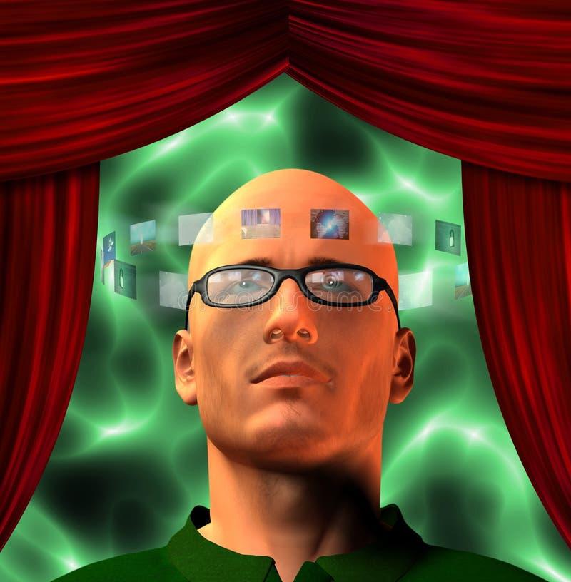 De beelden omringen bemant hoofd vector illustratie