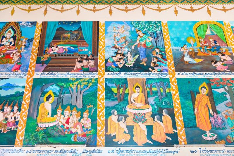 De beelden op de muur beschrijven levend van Boedha royalty-vrije stock afbeelding