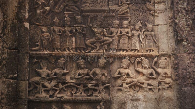 De Beelden van Angkor, Kambodja stock foto