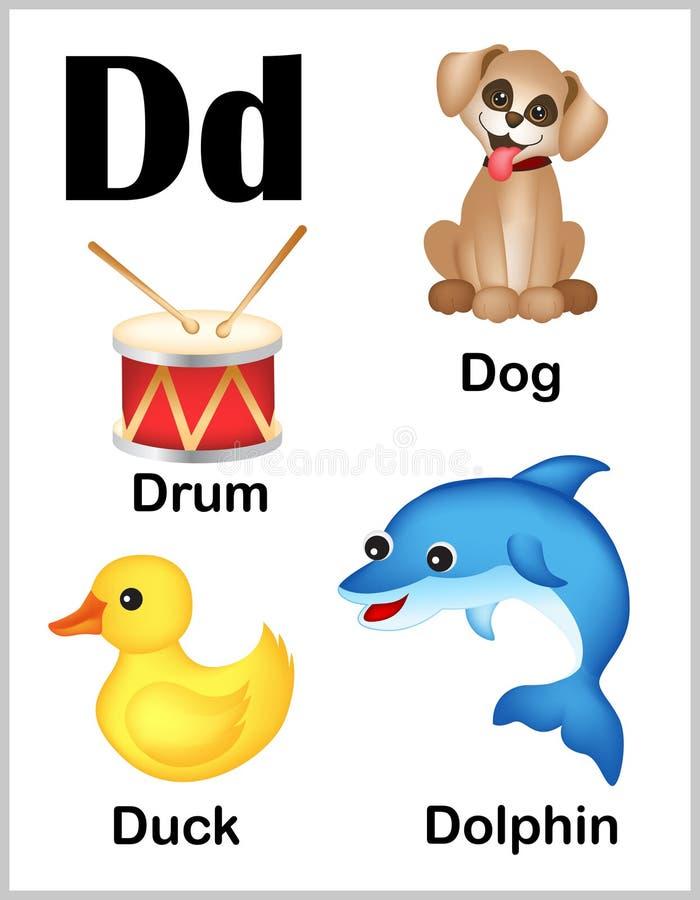 De beelden van D van de alfabetbrief royalty-vrije illustratie