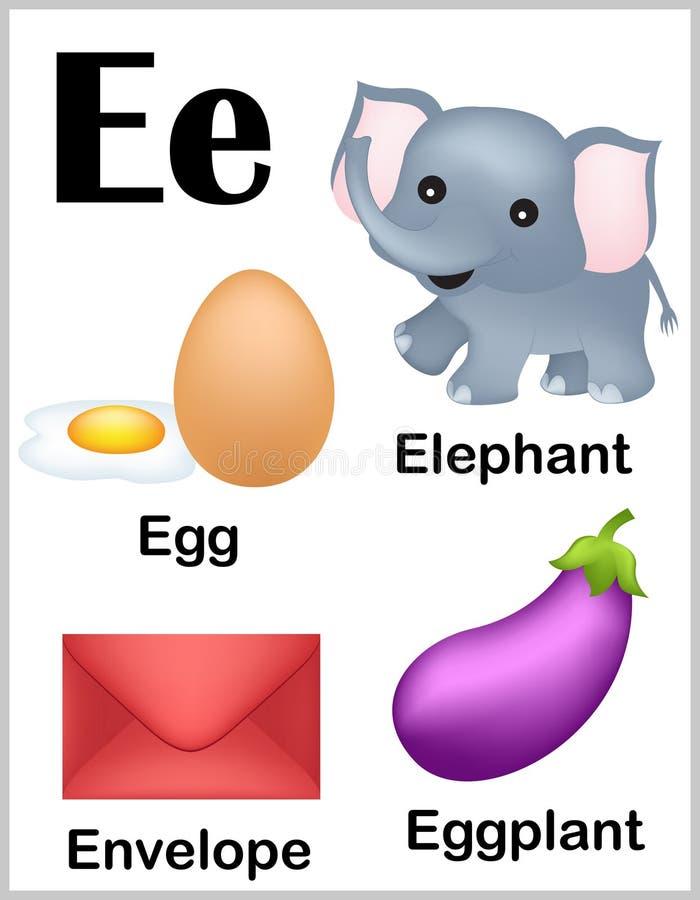 De beelden van de alfabetbrief E stock illustratie