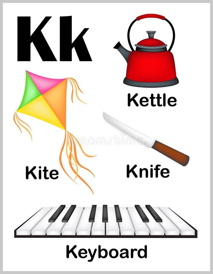 De beelden van de alfabetbrief K vector illustratie