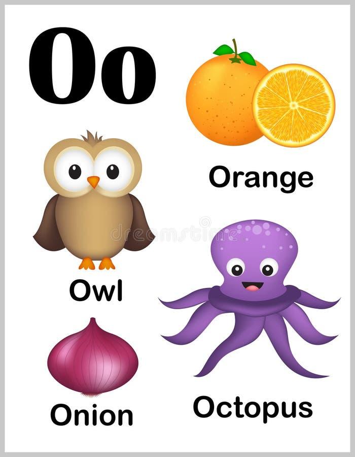 De beelden van de alfabetbrief O vector illustratie