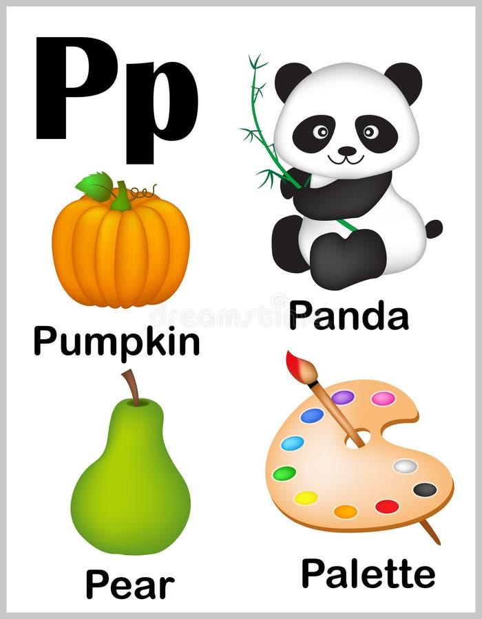 De beelden van de alfabetbrief P stock illustratie