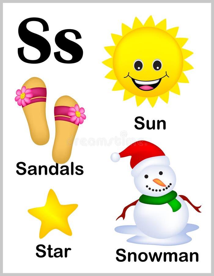 De beelden van de alfabetbrief S vector illustratie