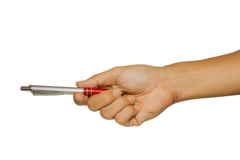 De beelden van de mensenhand namen een verzonden pen stock foto