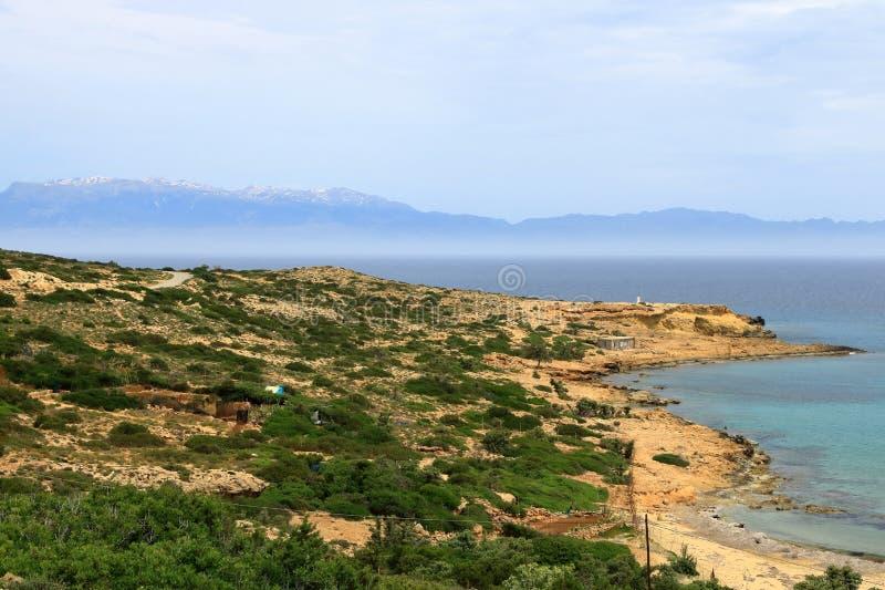 De beelden van een mooi eiland riepen gavdos, het zuidelijkste eiland in Europa stock afbeeldingen