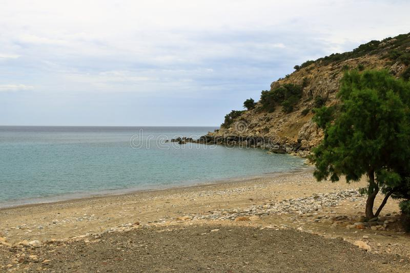 De beelden van een mooi eiland riepen gavdos, het zuidelijkste eiland in Europa stock foto